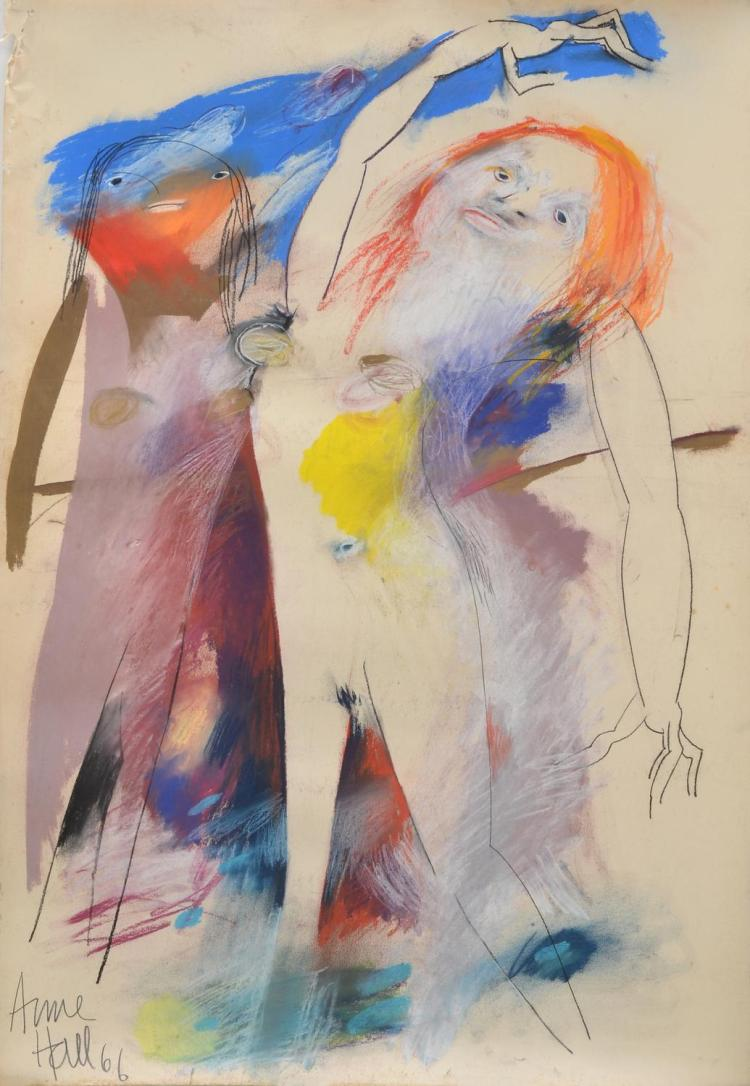 ANNE HALL (born 1945) Two Nudes Standing 1966 pastel on paper