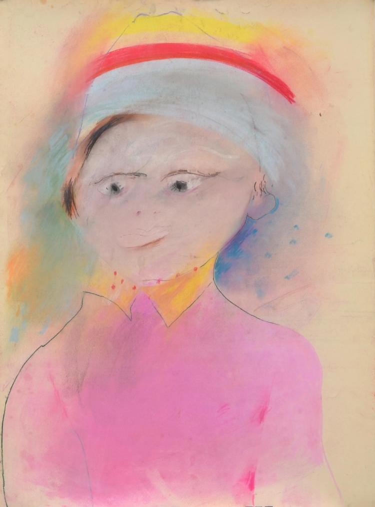 ANNE HALL (born 1945) Portrait in Pink with Hat pastel on paper