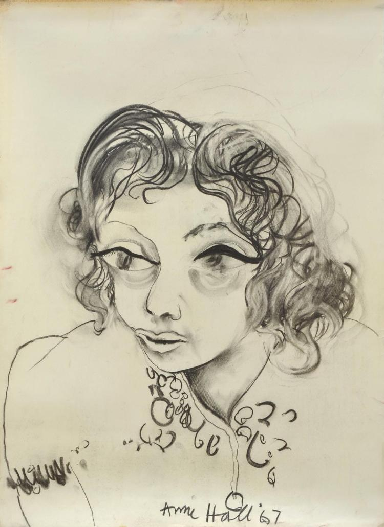 ANNE HALL (born 1945) Portrait of a Woman with Curls 1967 charcoal on paper