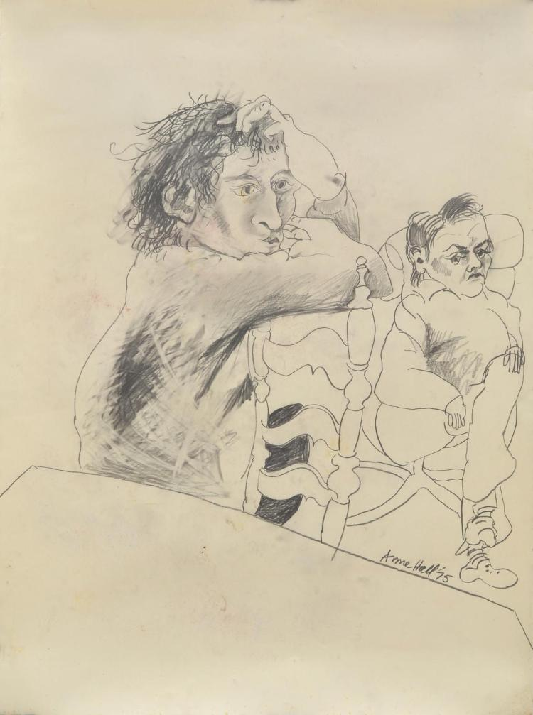 ANNE HALL (born 1945) John and Friend 1975 pencil on paper