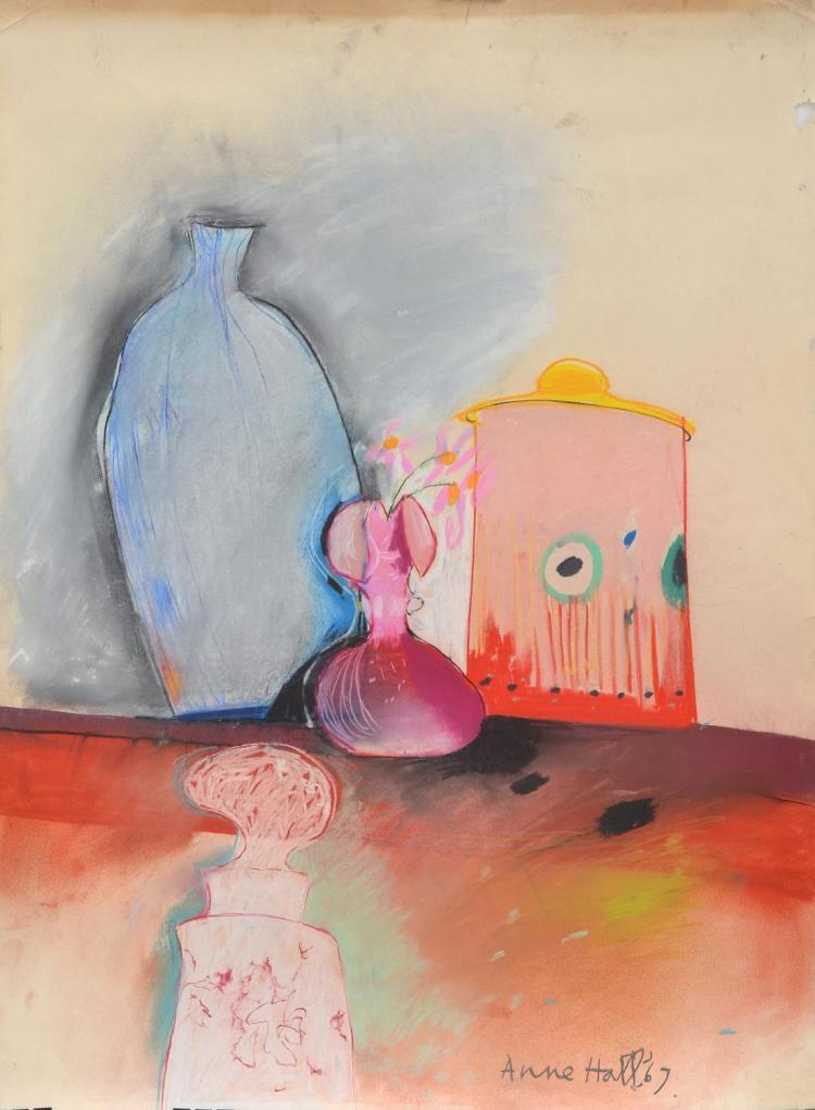 ANNE HALL (born 1945) Still Life with Pink Flowers 1967 pastel on paper