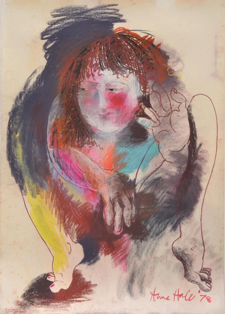 ANNE HALL (born 1945) Crouching Woman 1978 pastel on paper