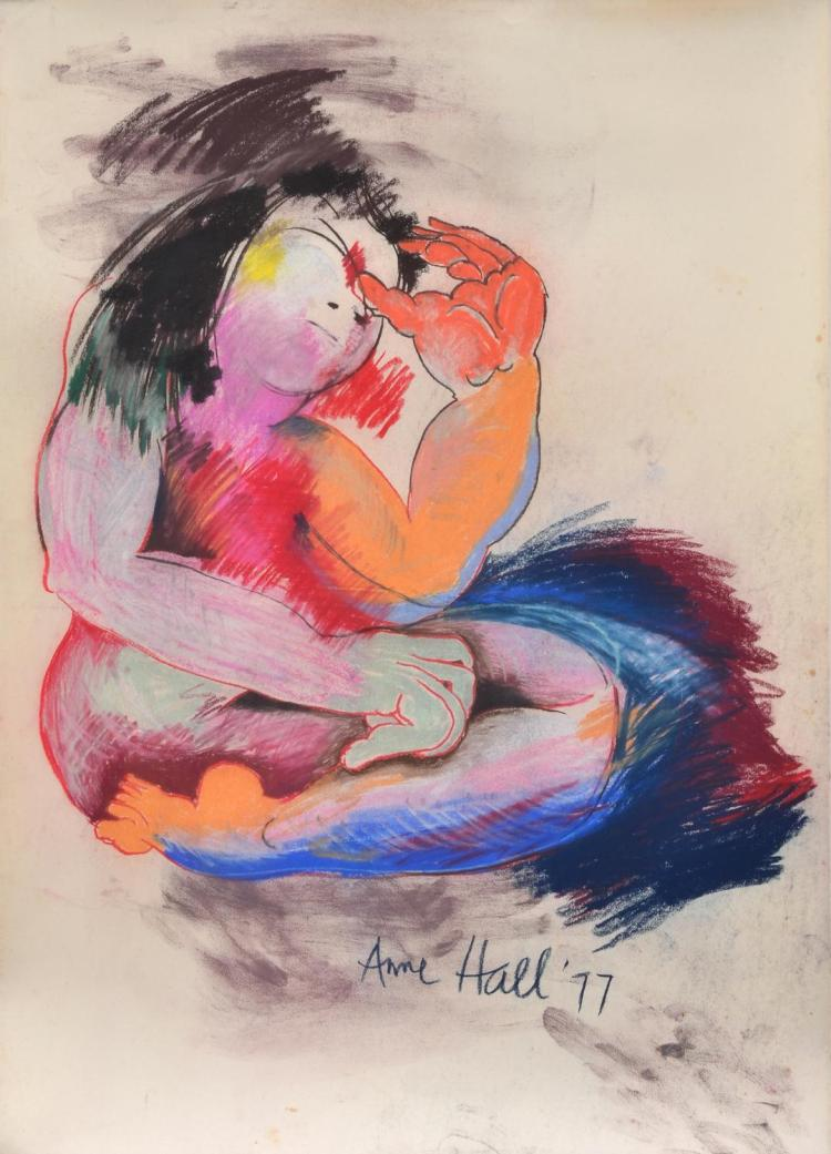 ANNE HALL (born 1945) Kneeling Woman with Black Hair 1977 pastel on paper