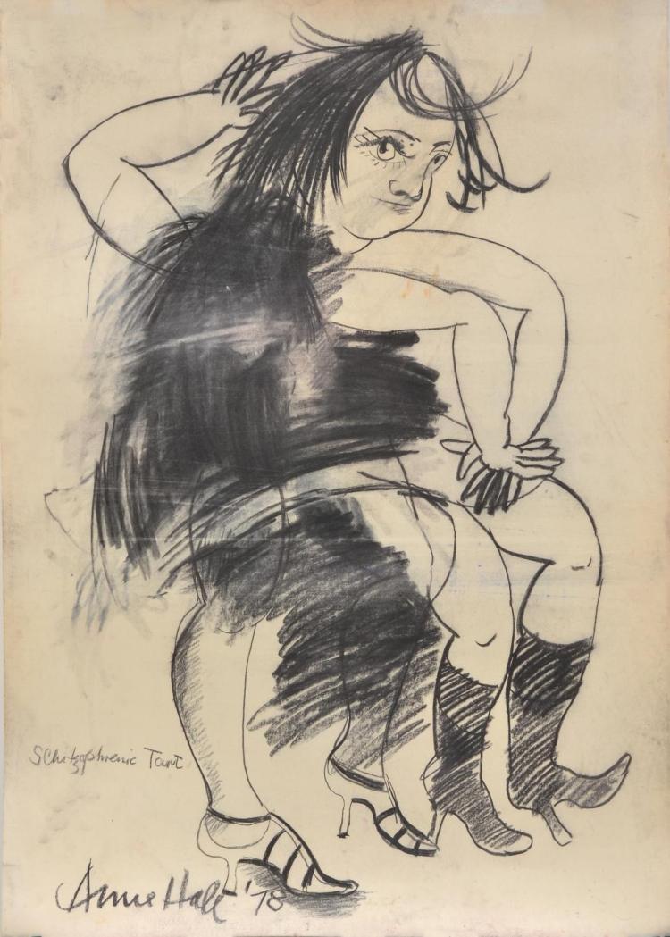 ANNE HALL (born 1945) Schizophrenic Tart 1978 charcoal on paper