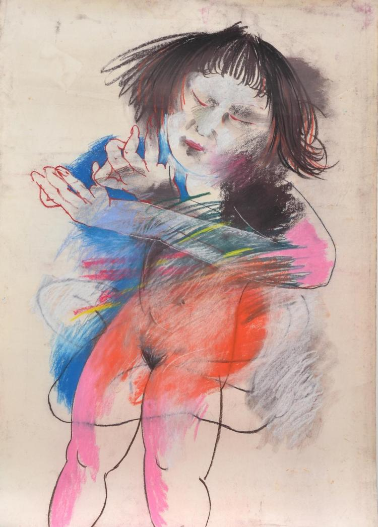 ANNE HALL (born 1945) Portrait of A Nude Women with Short Hair and Fringe pastel on paper