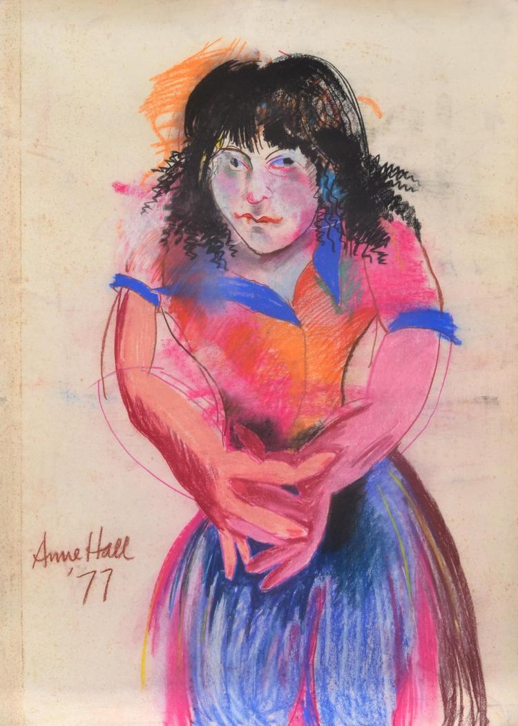 ANNE HALL (born 1945) Woman in Bright Dress 1977 pastel on paper
