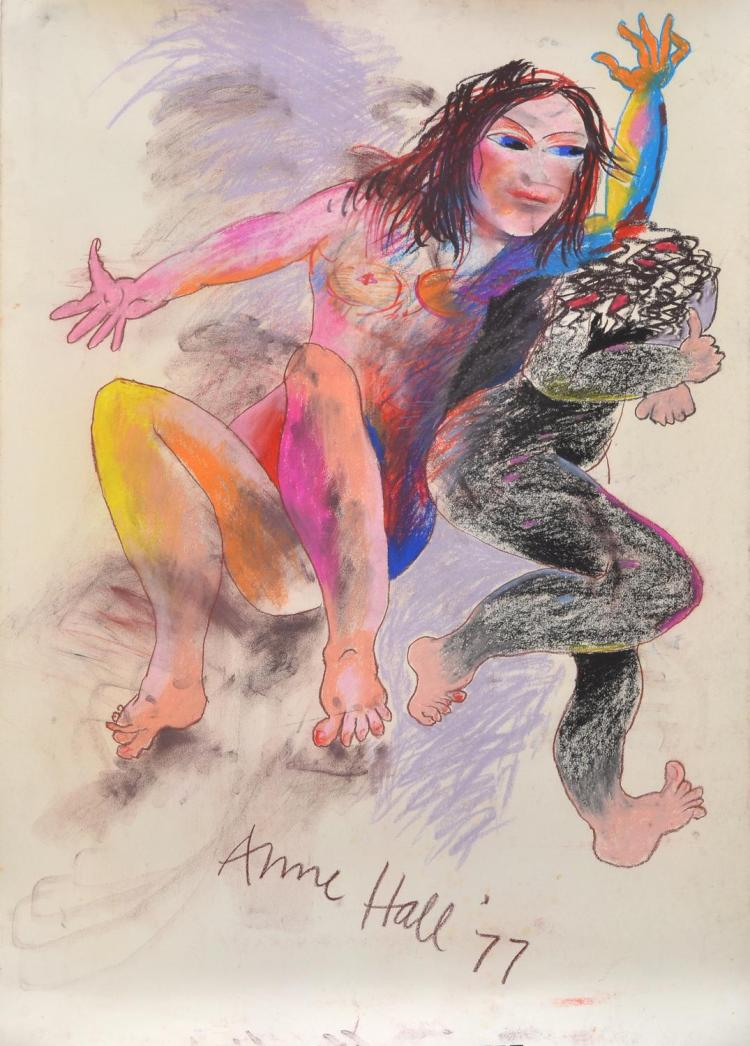 ANNE HALL (born 1945) Woman with Other Self 1977 pastel on paper