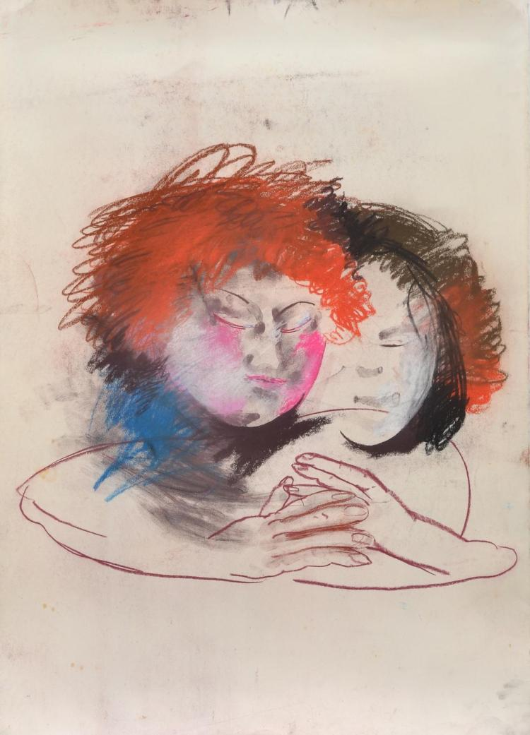 ANNE HALL (born 1945) Two Figures Holding Hands pastel on paper