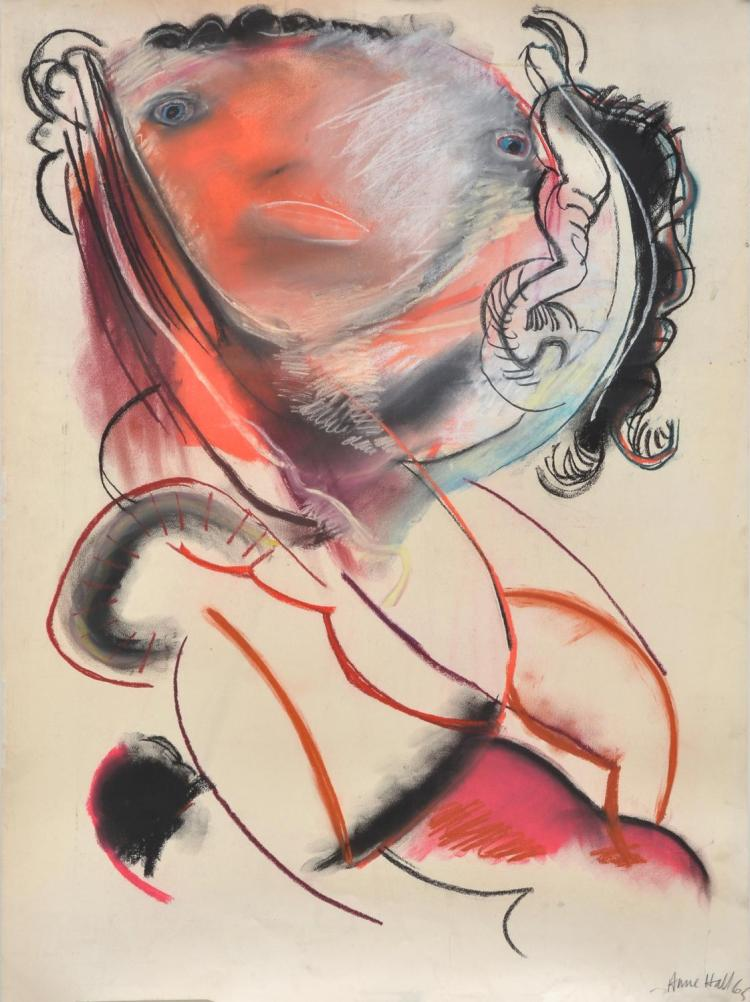 ANNE HALL (born 1945) An Abstract Portrait of A Woman with Black Curls 1965 pastel on paper