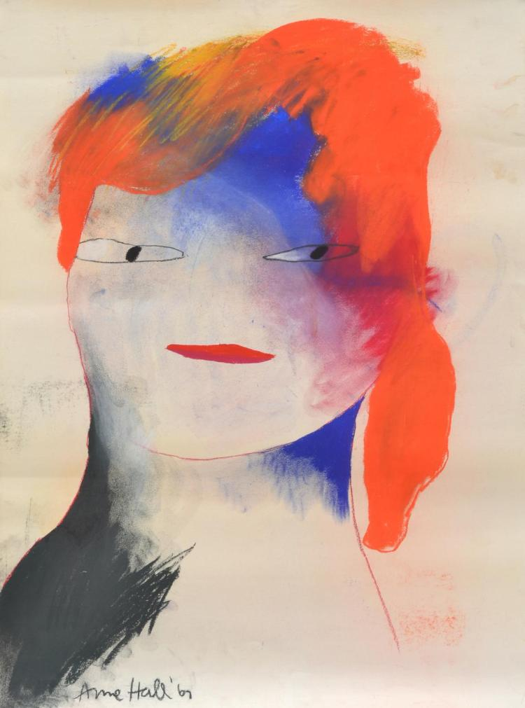 ANNE HALL (born 1945) Portrait of with Orange Hair and Blue Face 1967 pastel on paper
