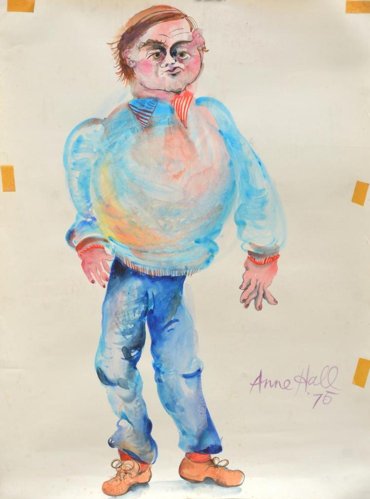 ANNE HALL (born 1945) Portrait of A Man (Possibly John Perceval) 1975 ink and gouache