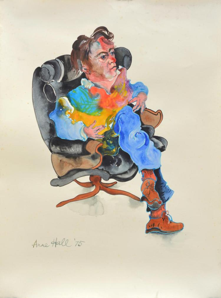 ANNE HALL (born 1945) Portrait of A Man Sitting (Possibly John Perceval) 1975 ink and gouache