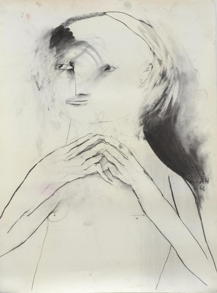 ANNE HALL (born 1945) Portrait of A Figure with Fingers Entwined 1966 charcoal on paper