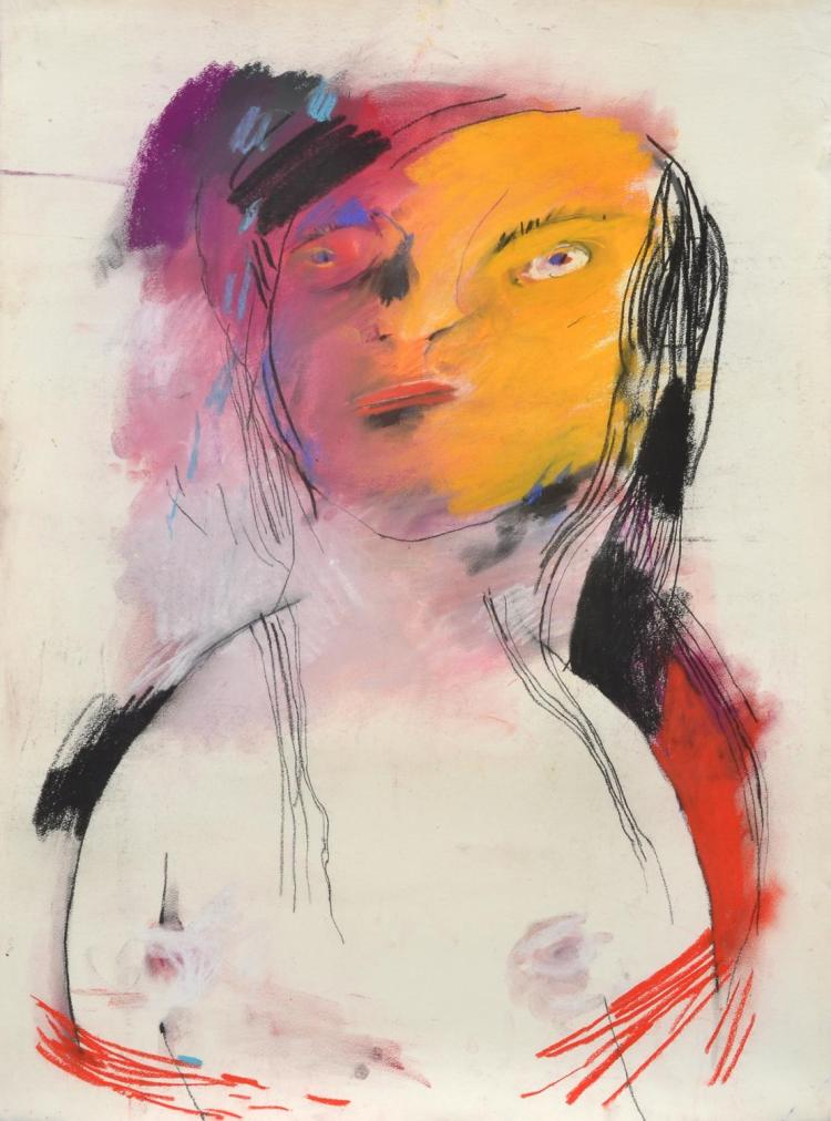 ANNE HALL (born 1945) Portrait of A Figure with Yellow Face and Black Hair pastel on paper