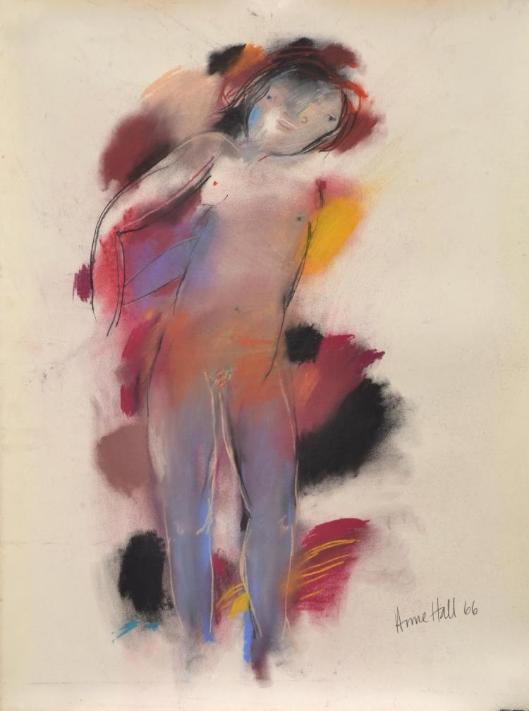 ANNE HALL (born 1945) Abstract Nude in Mauve 1966 pastel on paper