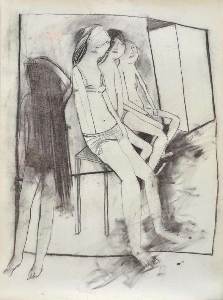 ANNE HALL (born 1945) Figures in the Studio charcoal on paper