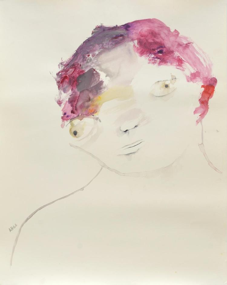ANNE HALL (born 1945) Face of A Figure with Pink Hair 1966  gouache and ink