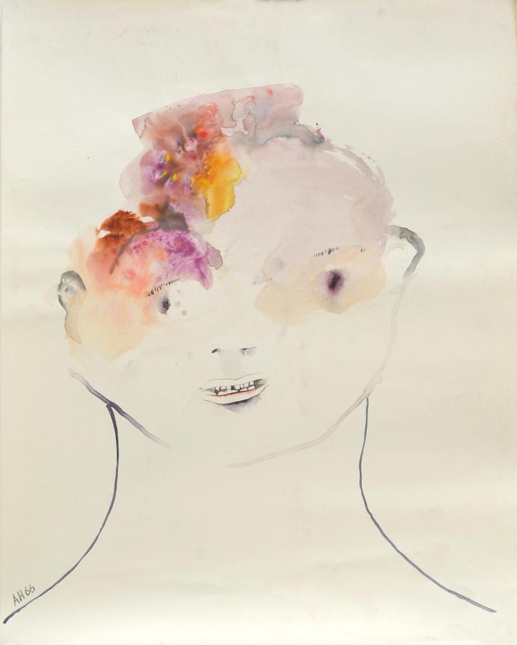 ANNE HALL (born 1945) Portrait Smiling with Pink and Yellow Hair 1966 ink and gouache