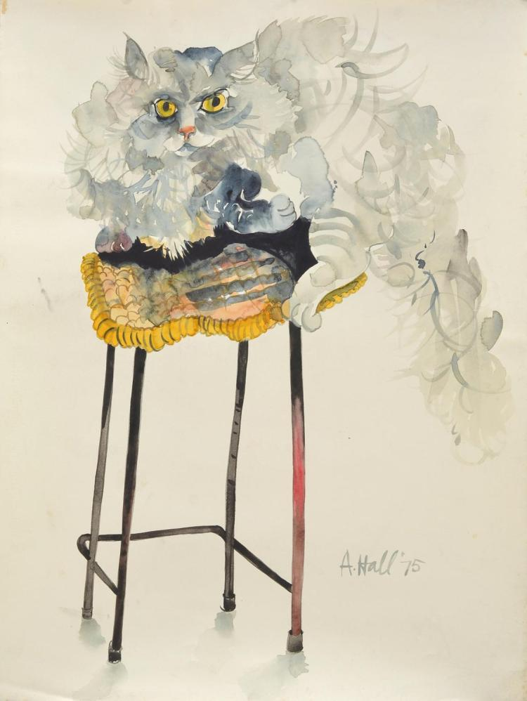 cmANNE HALL (born 1945) Cat Sitting on A Stool 1975 ink and gouache