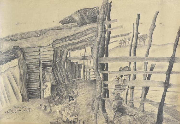 ANNE HALL (born 1945) John Perceval Painting in the Barn 1969 pencil on paper