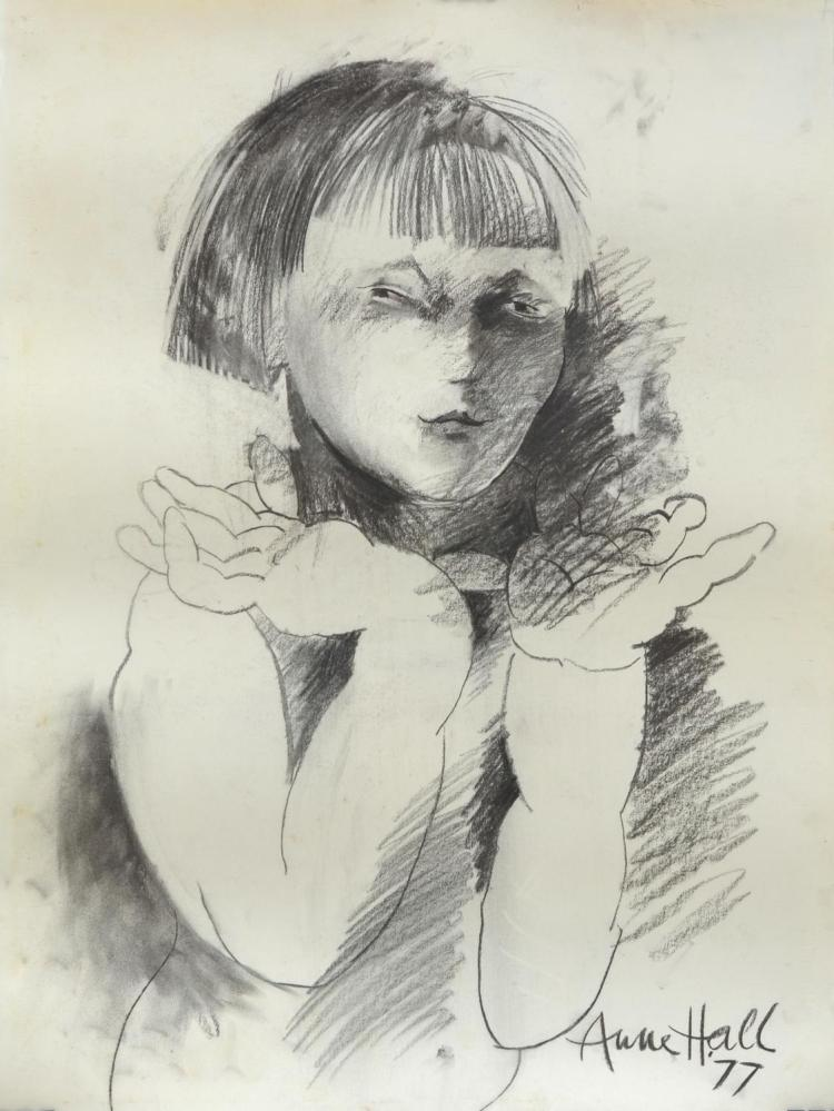 ANNE HALL (born 1945) Woman with Short Hair and Fringe 1977 charcoal on paper