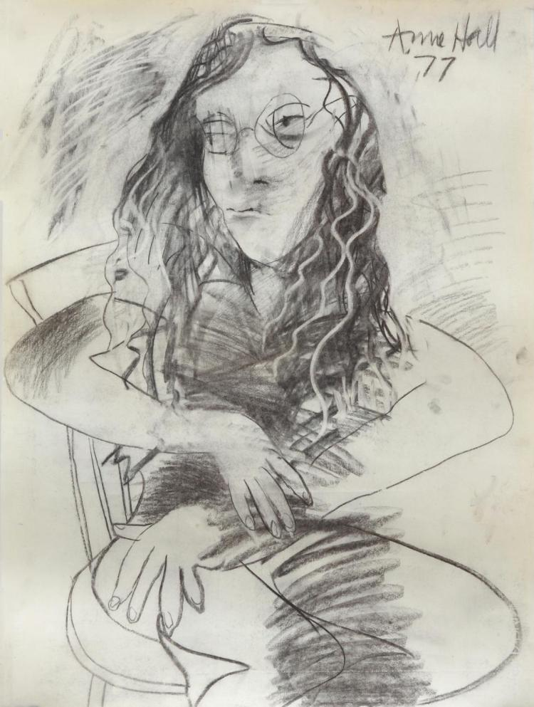 ANNE HALL (born 1945) Woman with Glasses, Seated 1977 charcoal on paper