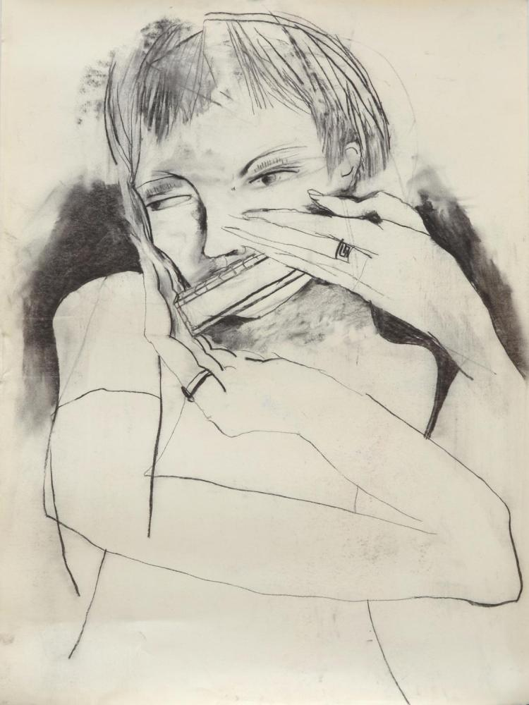 ANNE HALL (born 1945) A Woman Playing Harmonica charcoal on paper