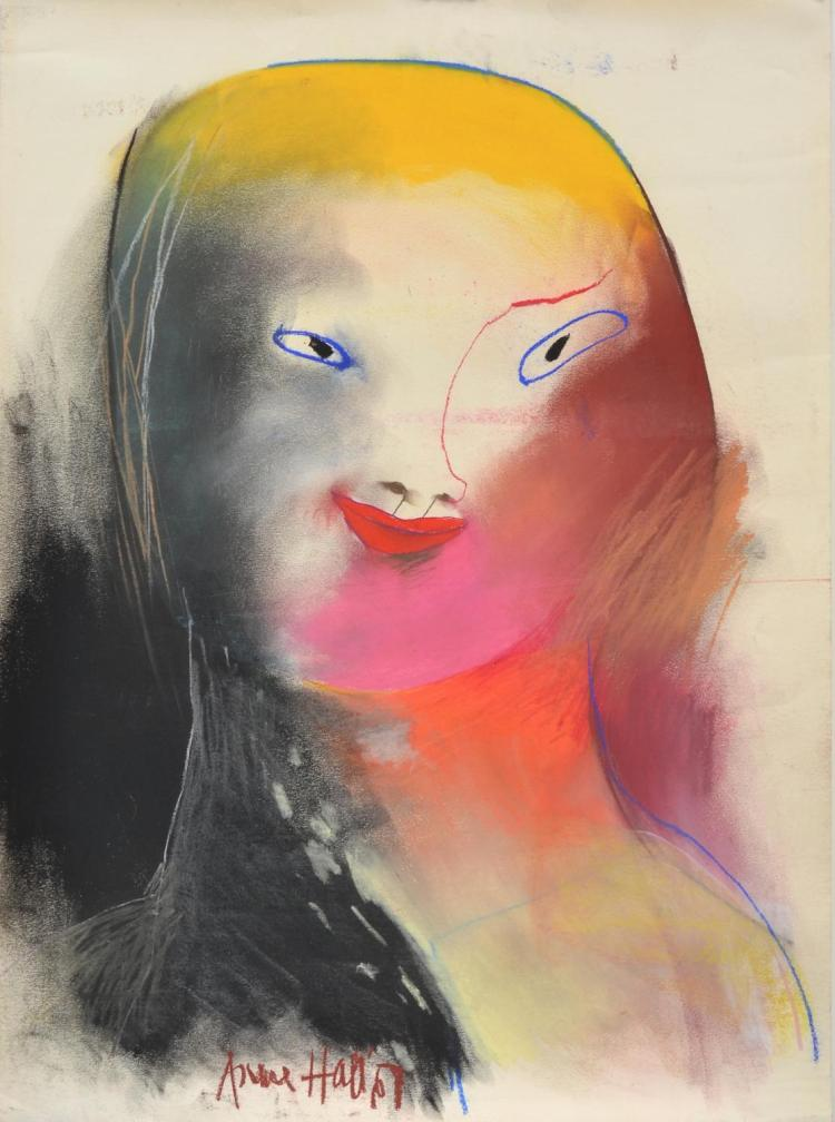 ANNE HALL (born 1945) Portrait of A Woman With Pink Chin 1967 pastel on paper