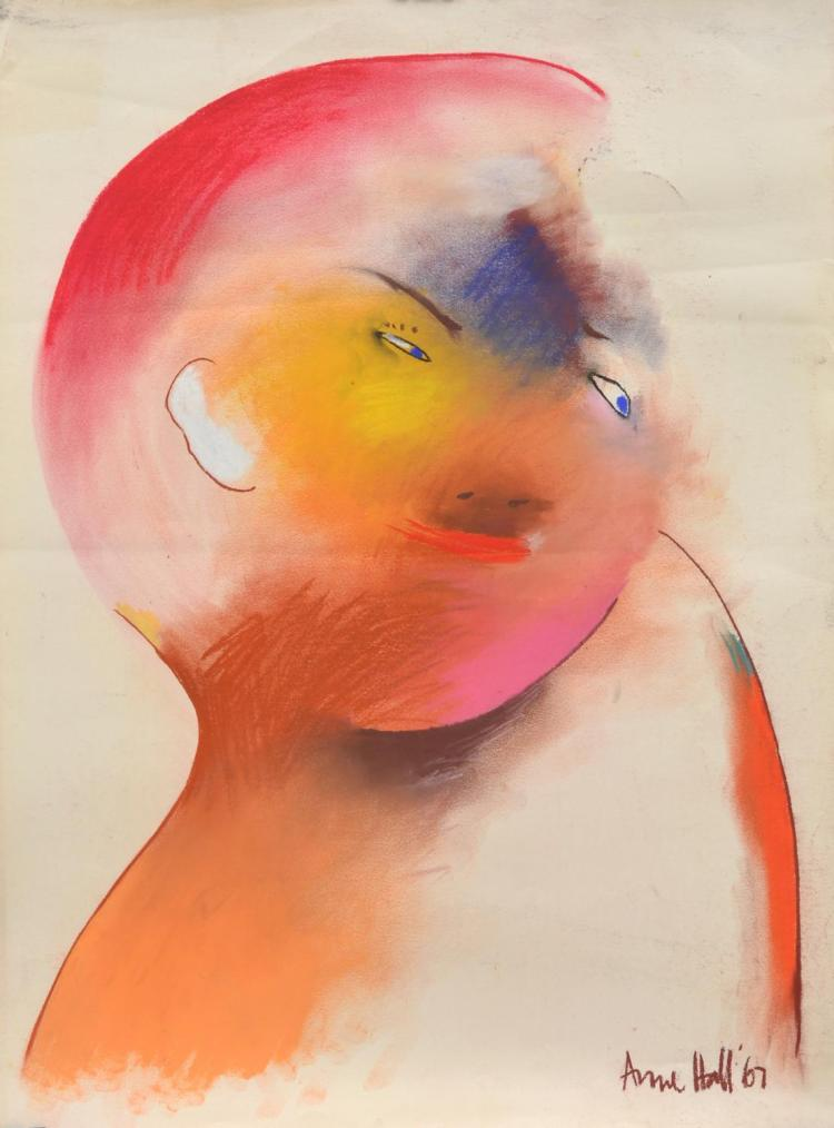 ANNE HALL (born 1945) Portrait of A Figure with Yellow Cheek and Pink Hair 1967 pastel on paper