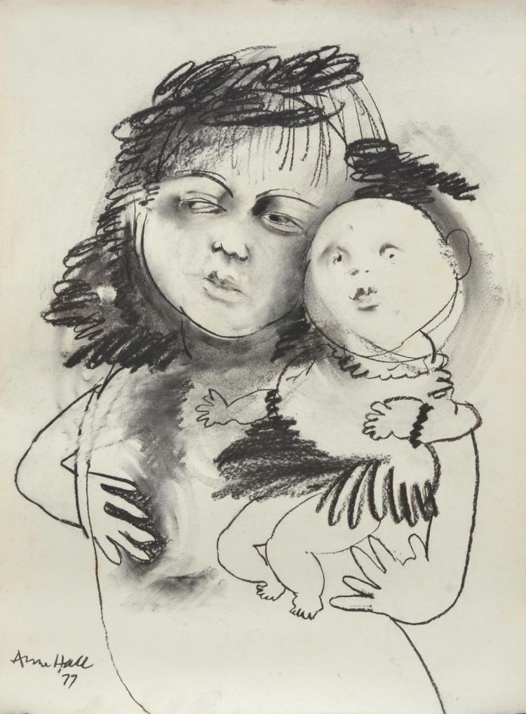 ANNE HALL (born 1945) Portrait of A Woman Holding A Baby 1977 charcoal on paper
