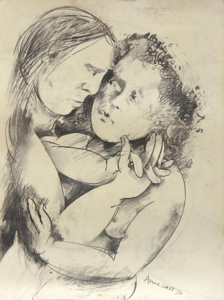 ANNE HALL (born 1945) Portrait of A Couple Embracing 1976 charcoal on paper