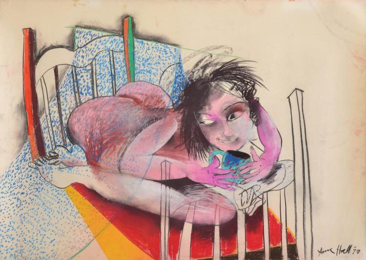 ANNE HALL (born 1945) Tea In Bed 1978 pastel on paper