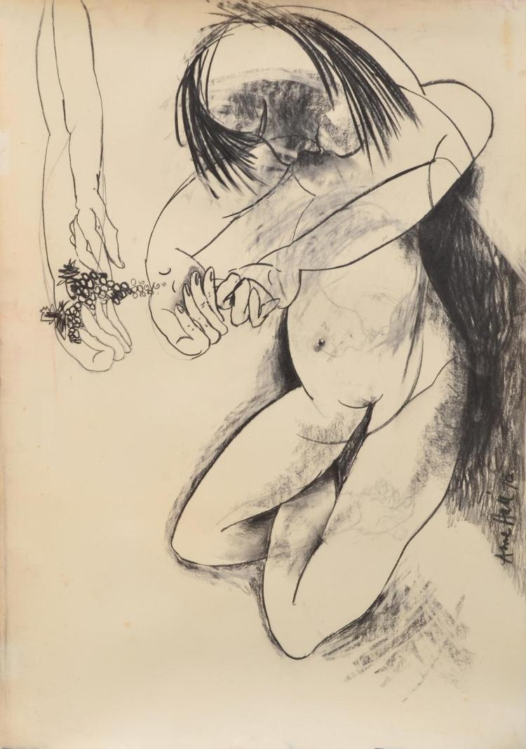 ANNE HALL (born 1945) Feeding Grapes 1970 charcoal on paper