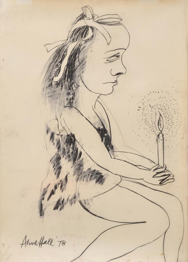 ANNE HALL (born 1945) Candlelight 1978 charcoal on paper