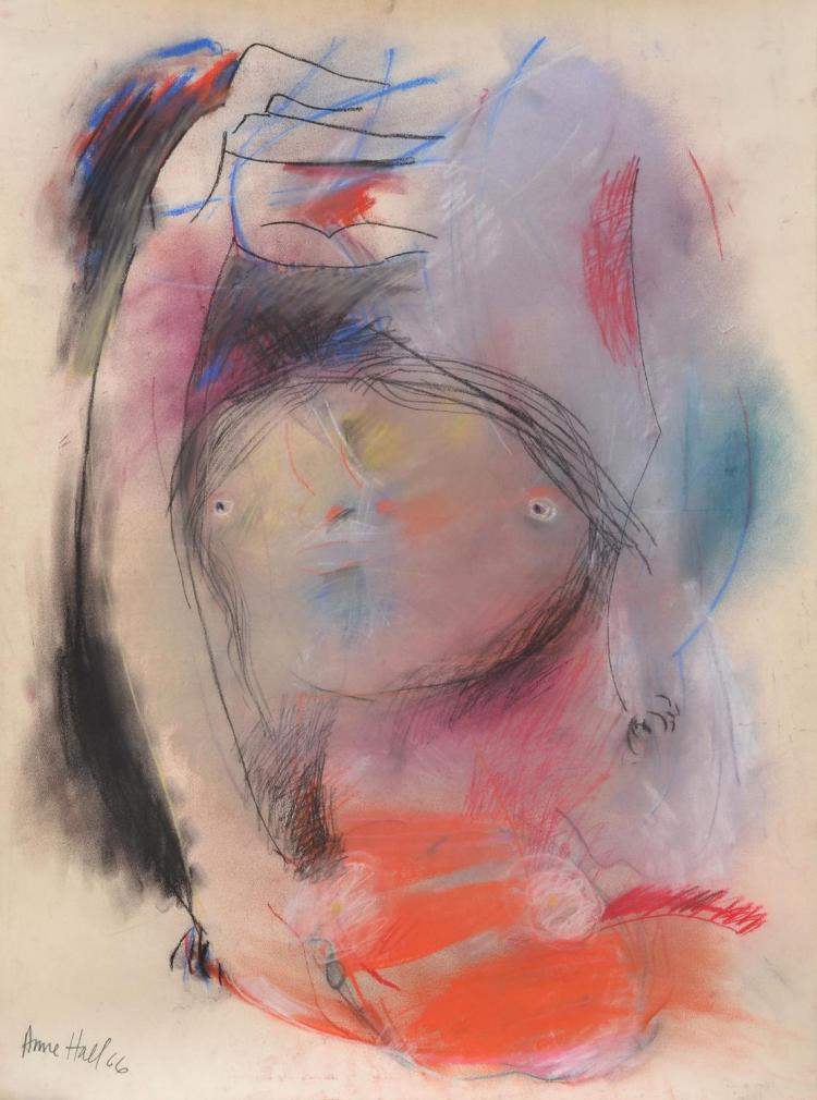 ANNE HALL (born 1945) Abstact Figure with Arms Raised 1966 pastel on paper