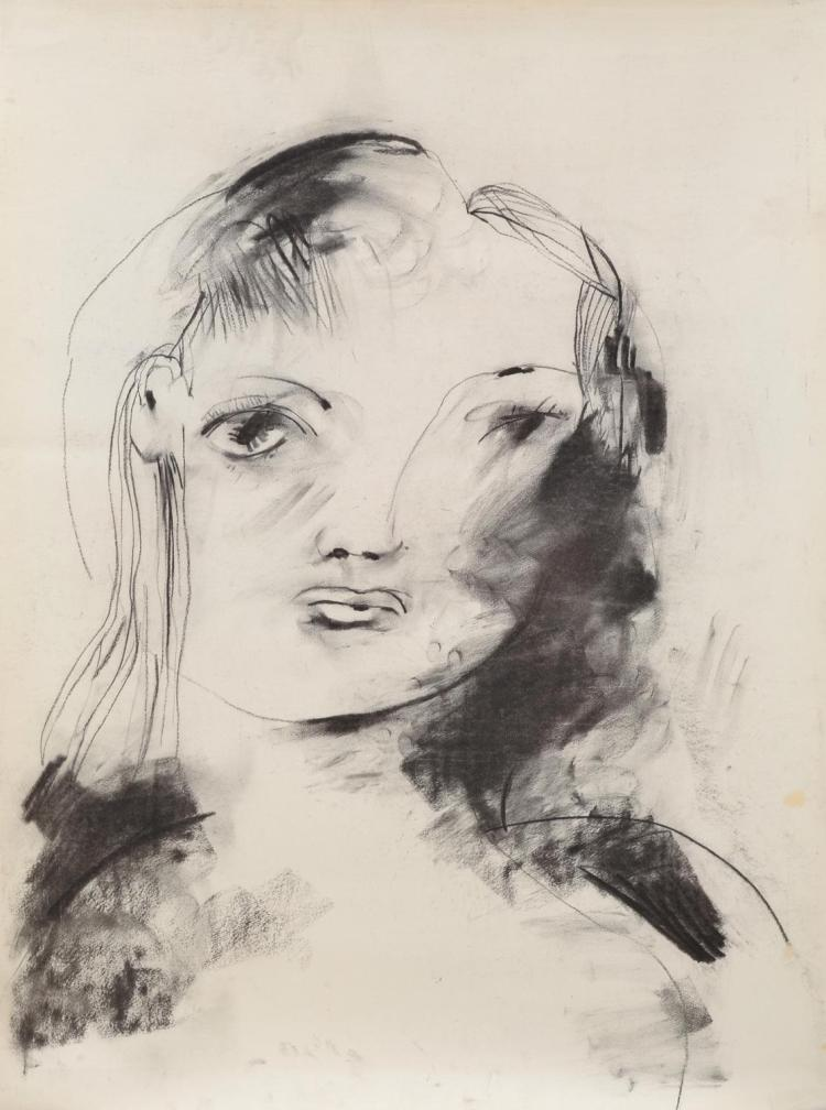 ANNE HALL (born 1945) Woman with Long Hair charcoal on paper