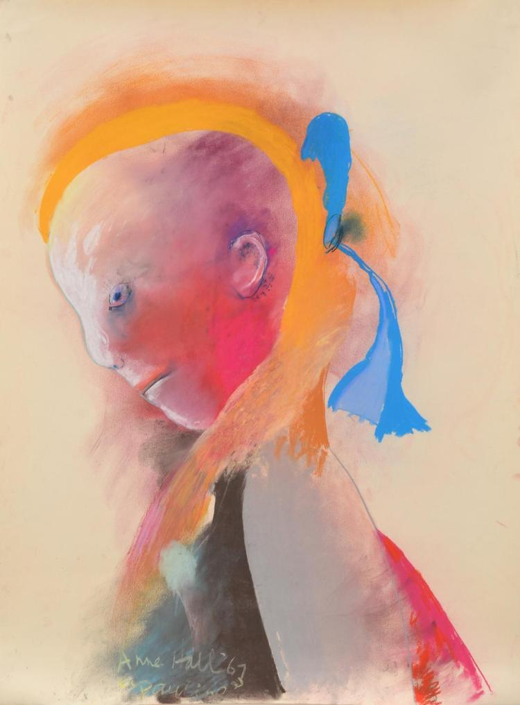 ANNE HALL (born 1945) Pauline with Blue Bow 1967 pastel