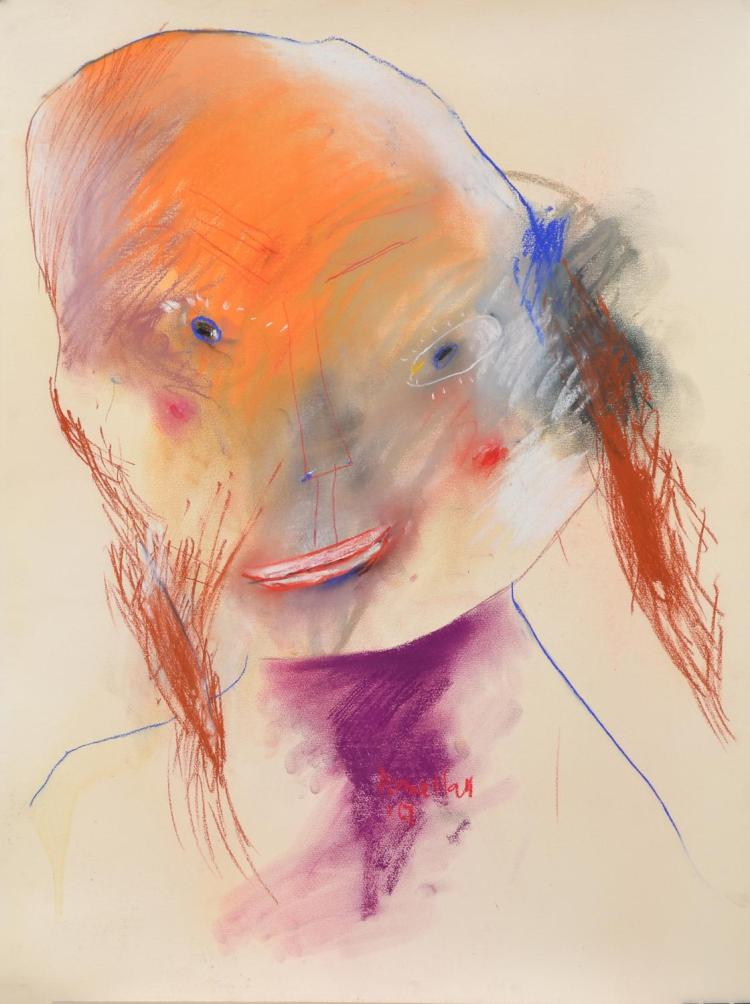 ANNE HALL (born 1945) Female with Orange Face and Purple Neck 1967 pastel on paper