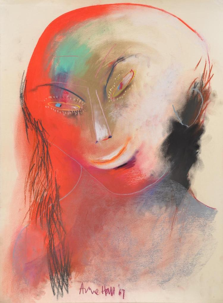 ANNE HALL (born 1945) Figure with Red Face and Black Hair 1967 pastel on paper