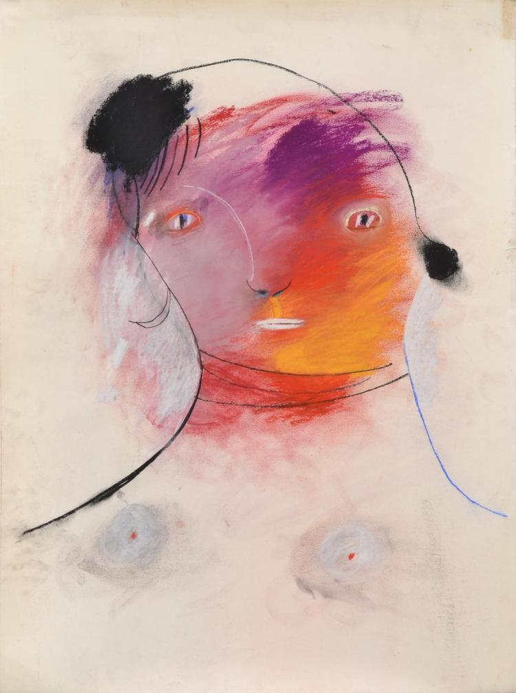 ANNE HALL (born 1945) Female with Purple, Red, and Yellow Face pastel on paper