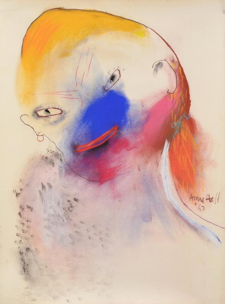 ANNE HALL (born 1945) Figure with Blue Nose 1967 pastel on paper