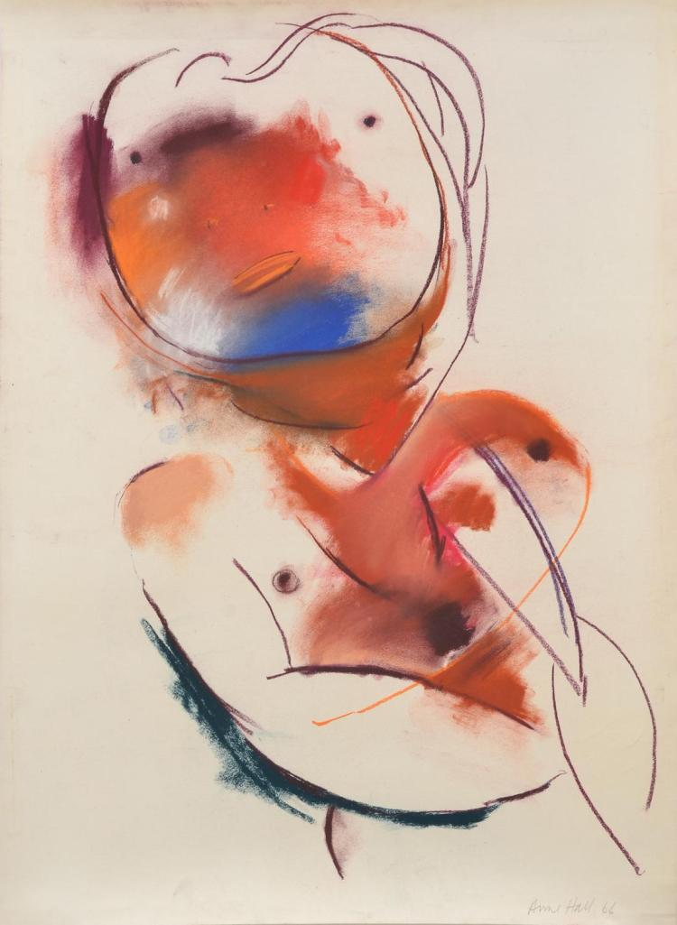 ANNE HALL (born 1945) Abstract Figure with Blue Chin 1966 pastel on paper