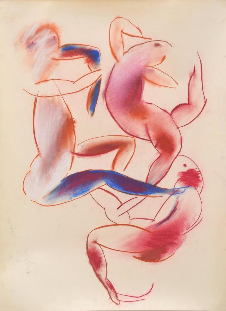 ANNE HALL (born 1945) Figures in Movement pastel on paper