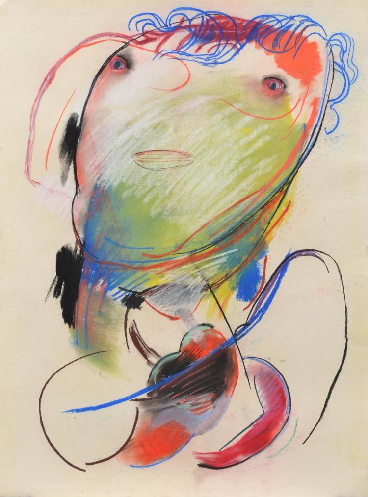 ANNE HALL (born 1945) Abstract Figure with Green Face pastel on paper