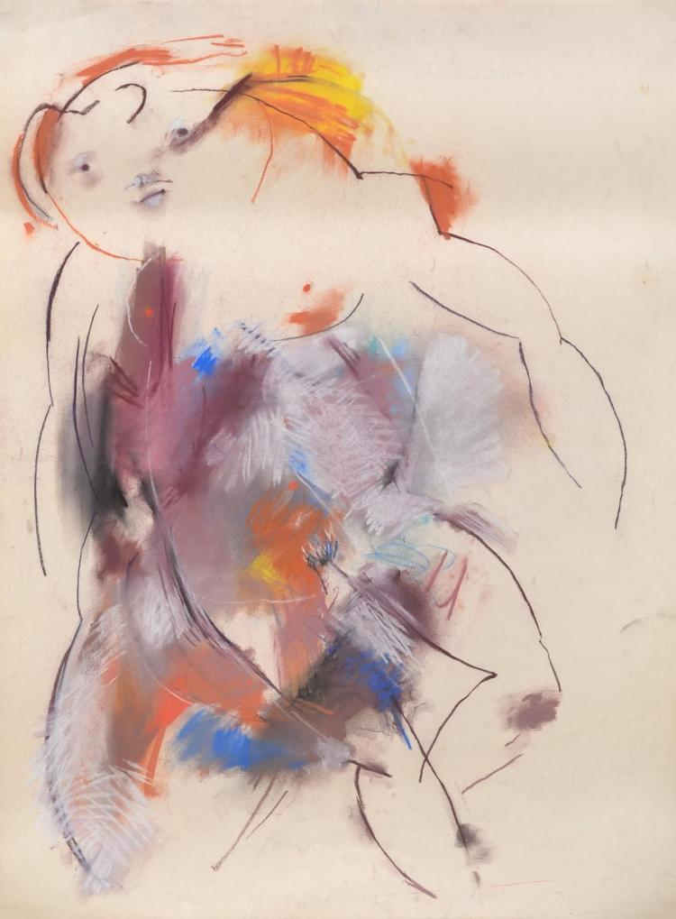 ANNE HALL (born 1945) Abstract Figure with Orange and Yellow Hair pastel on paper