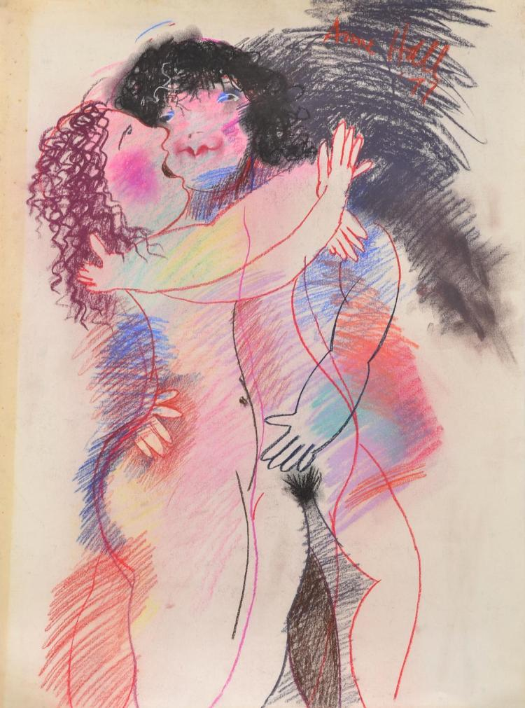 ANNE HALL (born 1945) Lovers 1977 pastel on paper