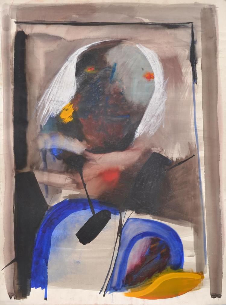 ANNE HALL (born 1945) Figure with White Hair in Dark Frame gouache and ink on paper