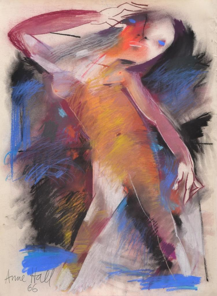 ANNE HALL (born 1945) Abstract Figure in Purple, Blue, and Black 1966 pastel on paper