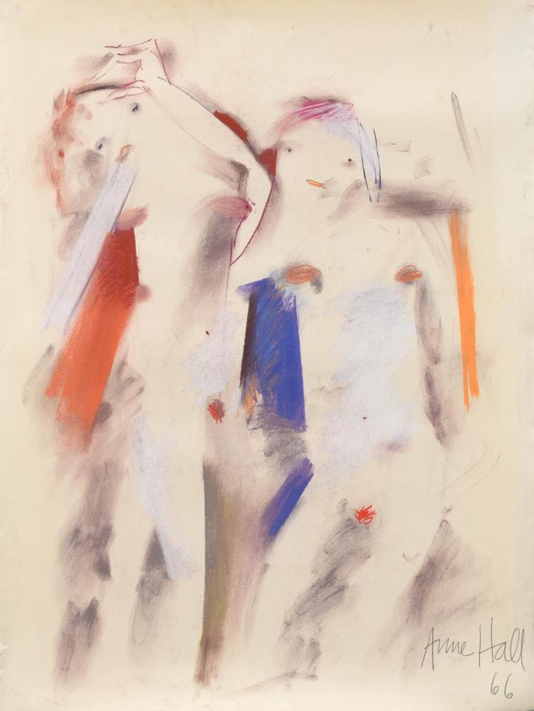 ANNE HALL (born 1945) Minimalist Figure Study 1966 pastel on paper