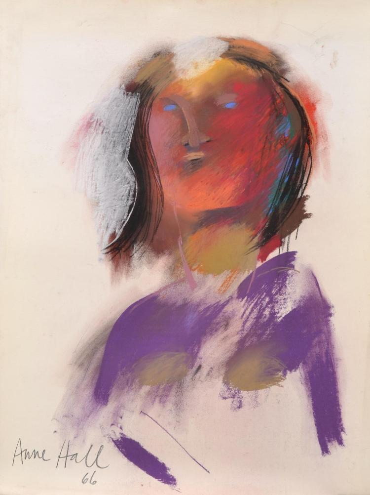 ANNE HALL (born 1945) Abstract Figure with Red Face and Purple Shoulders 1966 pastel on paper